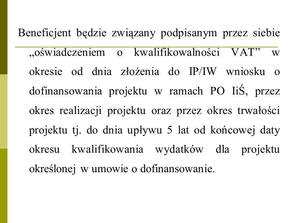 Beneficjent będzie związany podpisanym przez siebie oświadczeniem o kwalifikowalności VAT w okresie od dnia złożenia do IP/IW wniosku o dofinansowania