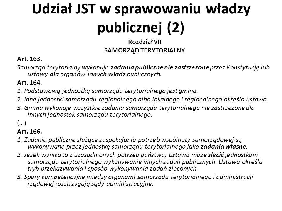 Udział JST w sprawowaniu władzy publicznej (2) Rozdział VII SAMORZĄD TERYTORIALNY Art. 163. Samorząd terytorialny wykonuje zadania publiczne nie zastr