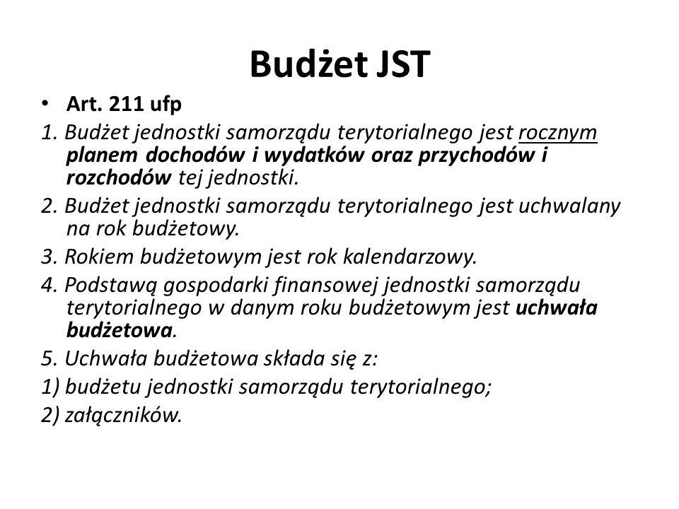 Budżet JST Art. 211 ufp 1. Budżet jednostki samorządu terytorialnego jest rocznym planem dochodów i wydatków oraz przychodów i rozchodów tej jednostki