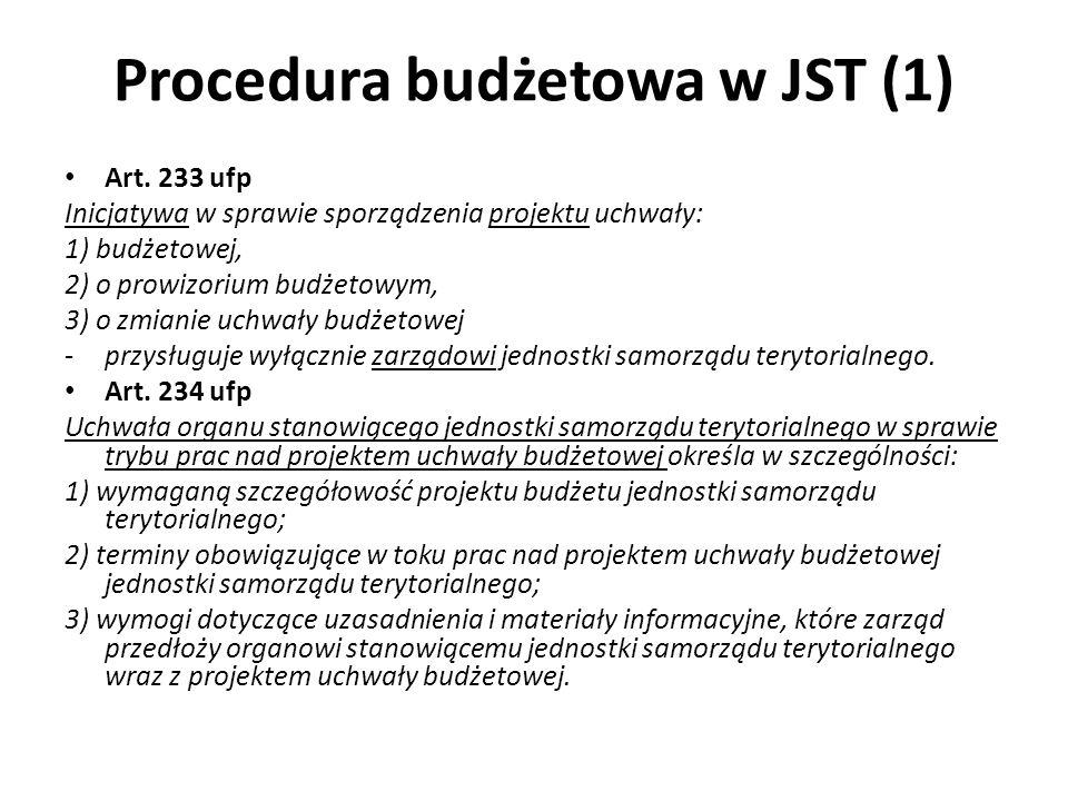 Procedura budżetowa w JST (1) Art. 233 ufp Inicjatywa w sprawie sporządzenia projektu uchwały: 1) budżetowej, 2) o prowizorium budżetowym, 3) o zmiani