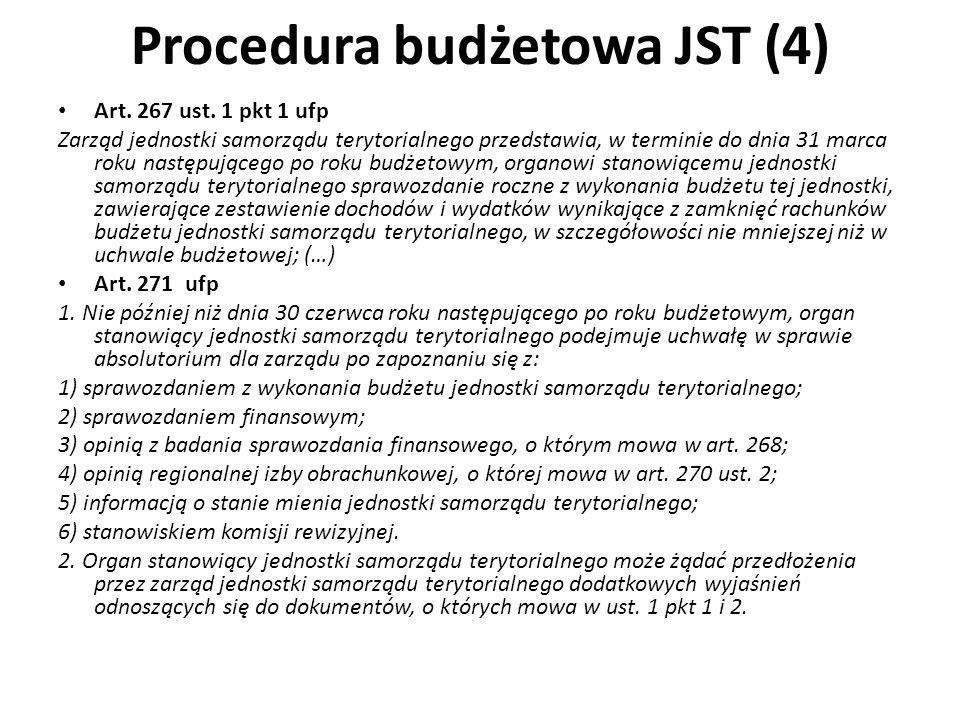 Procedura budżetowa JST (4) Art. 267 ust. 1 pkt 1 ufp Zarząd jednostki samorządu terytorialnego przedstawia, w terminie do dnia 31 marca roku następuj