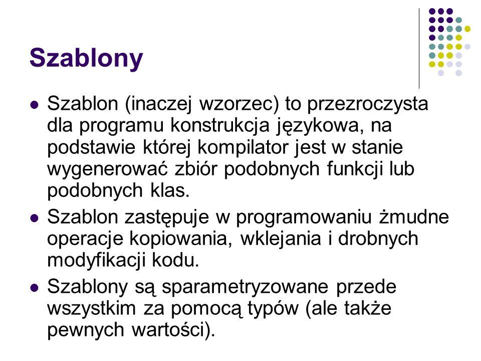 Szablon (inaczej wzorzec) to przezroczysta dla programu konstrukcja językowa, na podstawie której kompilator jest w stanie wygenerować zbiór podobnych