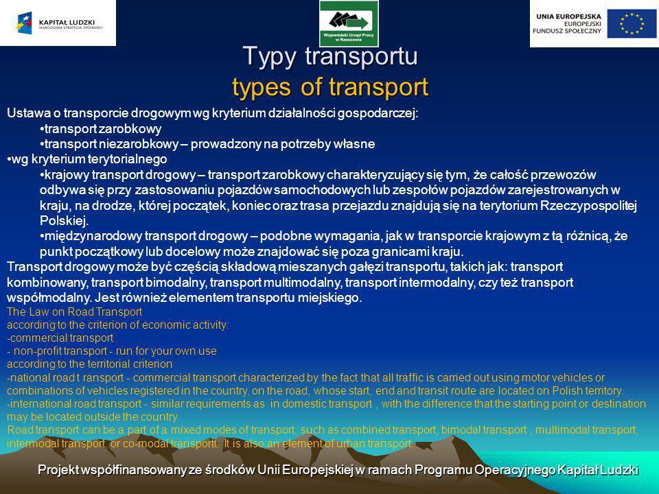 Ustawa o transporcie drogowym wg kryterium działalności gospodarczej: transport zarobkowy transport niezarobkowy – prowadzony na potrzeby własne wg kr