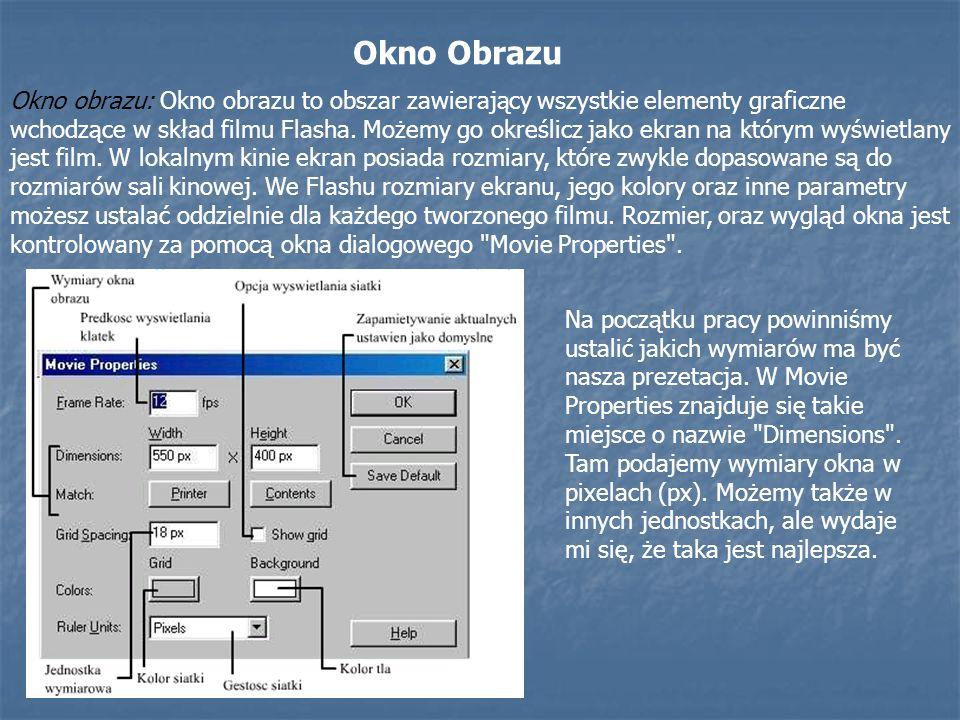 Okno obrazu: Okno obrazu to obszar zawierający wszystkie elementy graficzne wchodzące w skład filmu Flasha. Możemy go określicz jako ekran na którym w