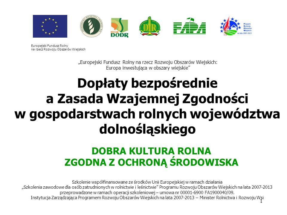 1 Dopłaty bezpośrednie a Zasada Wzajemnej Zgodności w gospodarstwach rolnych województwa dolnośląskiego Szkolenie współfinansowane ze środków Unii Eur