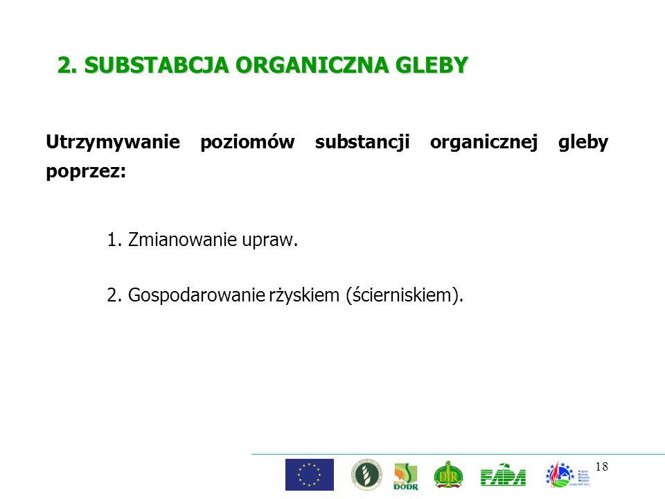 18 2. SUBSTABCJA ORGANICZNA GLEBY 1. Zmianowanie upraw. 2. Gospodarowanie rżyskiem (ścierniskiem). Utrzymywanie poziomów substancji organicznej gleby
