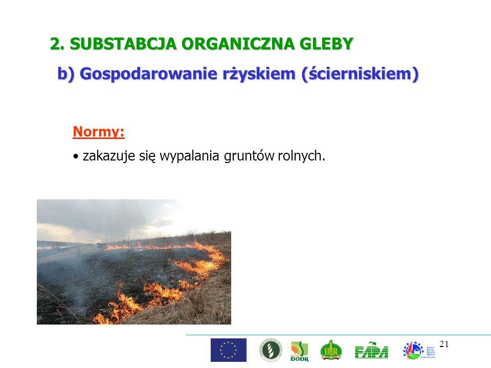 21 2. SUBSTABCJA ORGANICZNA GLEBY Normy: zakazuje się wypalania gruntów rolnych. b) Gospodarowanie rżyskiem (ścierniskiem)
