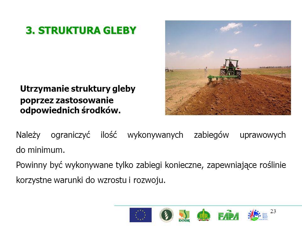 23 3. STRUKTURA GLEBY Utrzymanie struktury gleby poprzez zastosowanie odpowiednich środków. Należy ograniczyć ilość wykonywanych zabiegów uprawowych d