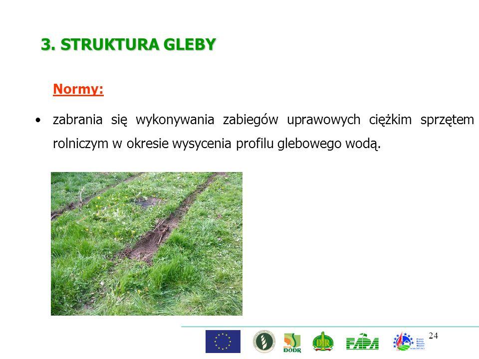 24 3. STRUKTURA GLEBY Normy: zabrania się wykonywania zabiegów uprawowych ciężkim sprzętem rolniczym w okresie wysycenia profilu glebowego wodą.