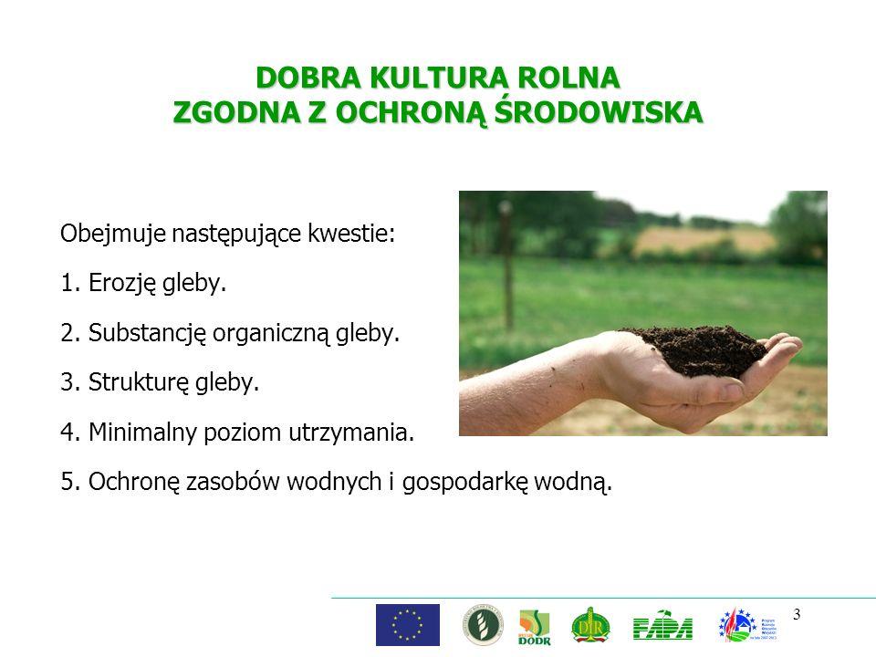 3 DOBRA KULTURA ROLNA ZGODNA Z OCHRONĄ ŚRODOWISKA Obejmuje następujące kwestie: 1. Erozję gleby. 2. Substancję organiczną gleby. 3. Strukturę gleby. 4