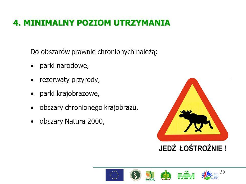 30 4. MINIMALNY POZIOM UTRZYMANIA Do obszarów prawnie chronionych należą: parki narodowe, rezerwaty przyrody, parki krajobrazowe, obszary chronionego