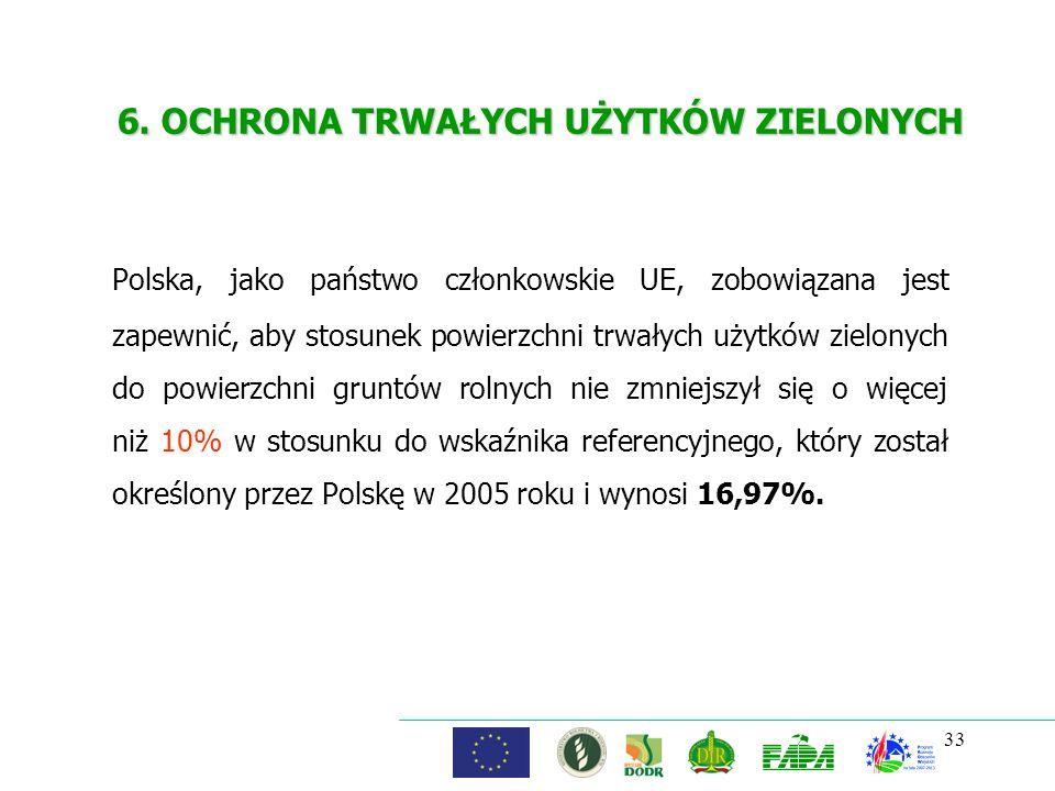 33 6. OCHRONA TRWAŁYCH UŻYTKÓW ZIELONYCH Polska, jako państwo członkowskie UE, zobowiązana jest zapewnić, aby stosunek powierzchni trwałych użytków zi