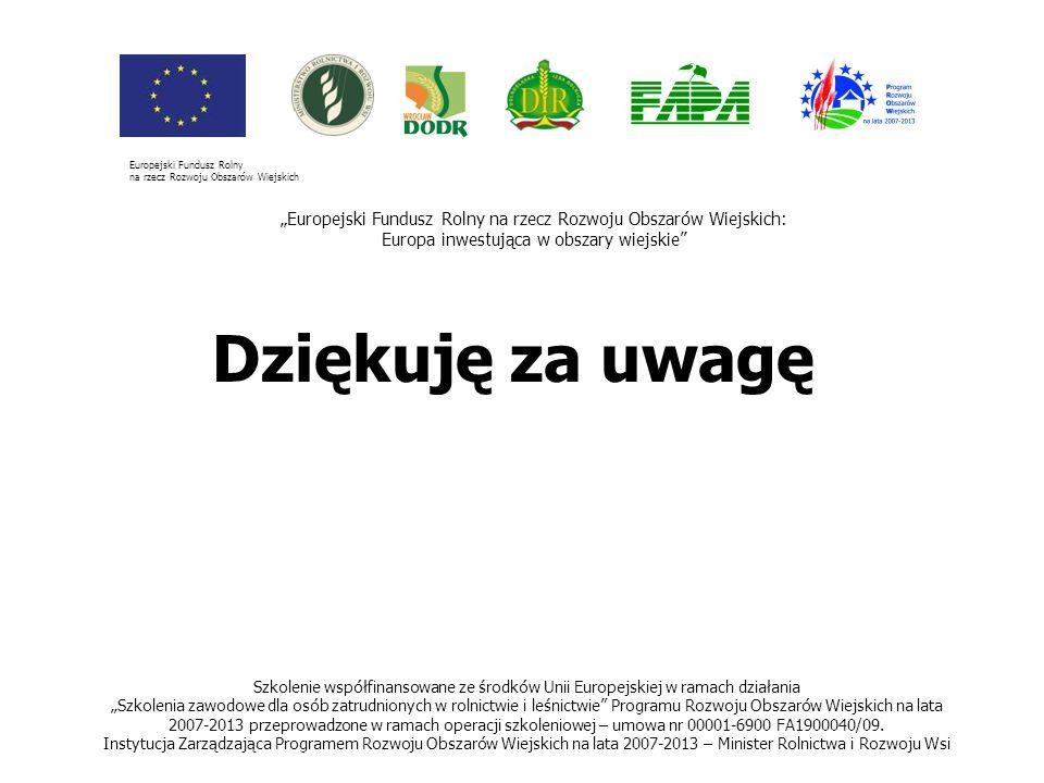 41 Dziękuję za uwagę Szkolenie współfinansowane ze środków Unii Europejskiej w ramach działania Szkolenia zawodowe dla osób zatrudnionych w rolnictwie