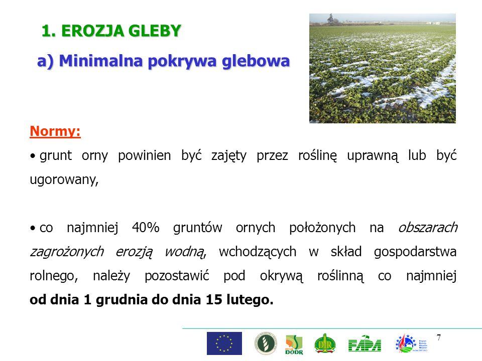 7 1. EROZJA GLEBY a) Minimalna pokrywa glebowa Normy: grunt orny powinien być zajęty przez roślinę uprawną lub być ugorowany, co najmniej 40% gruntów