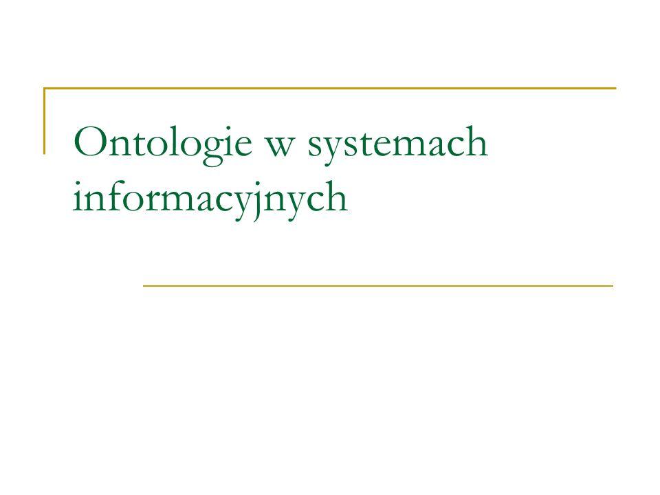 Inne systemy języków (formalnych) do reprezentowania ontologii OntoMap – http://www.OntoMap.orghttp://www.OntoMap.org Ontolingua DAML+OIL (http://www.daml.org, http://www.ontoknowledge.org/oil ) http://www.ontoknowledge.org/oil Systemy description logics: BACK, CLASSIC, CRACK, FLEX, K-REP,