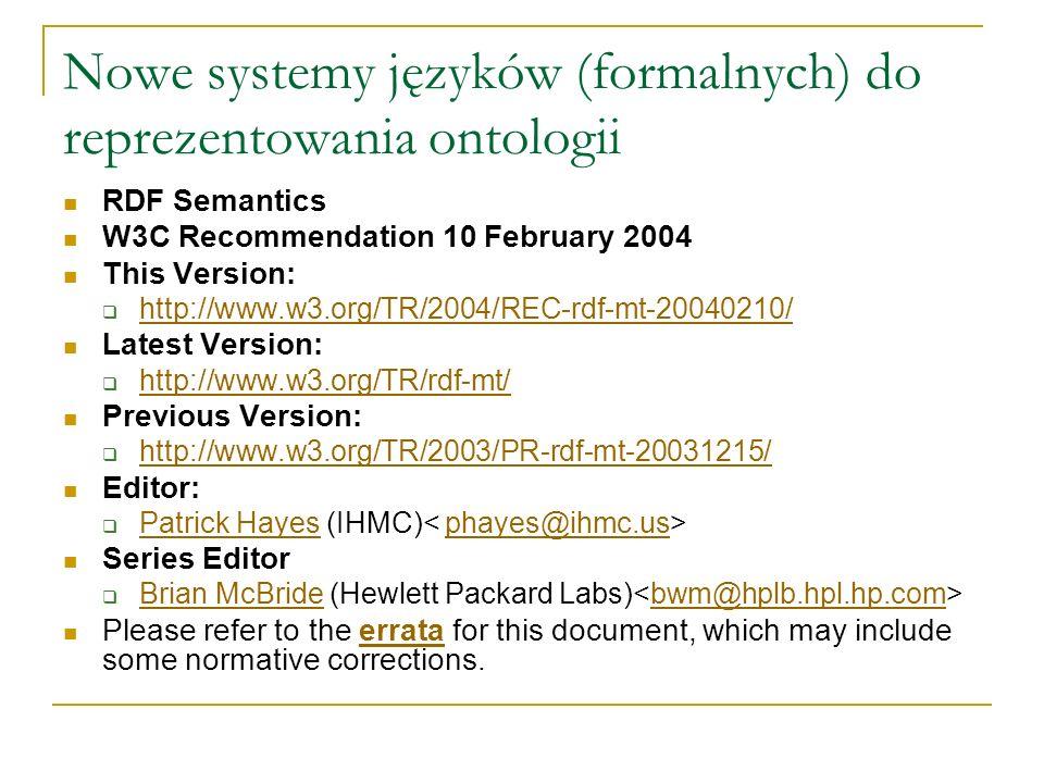 RDF Semantics W3C Recommendation 10 February 2004 This Version: http://www.w3.org/TR/2004/REC-rdf-mt-20040210/ Latest Version: http://www.w3.org/TR/rd