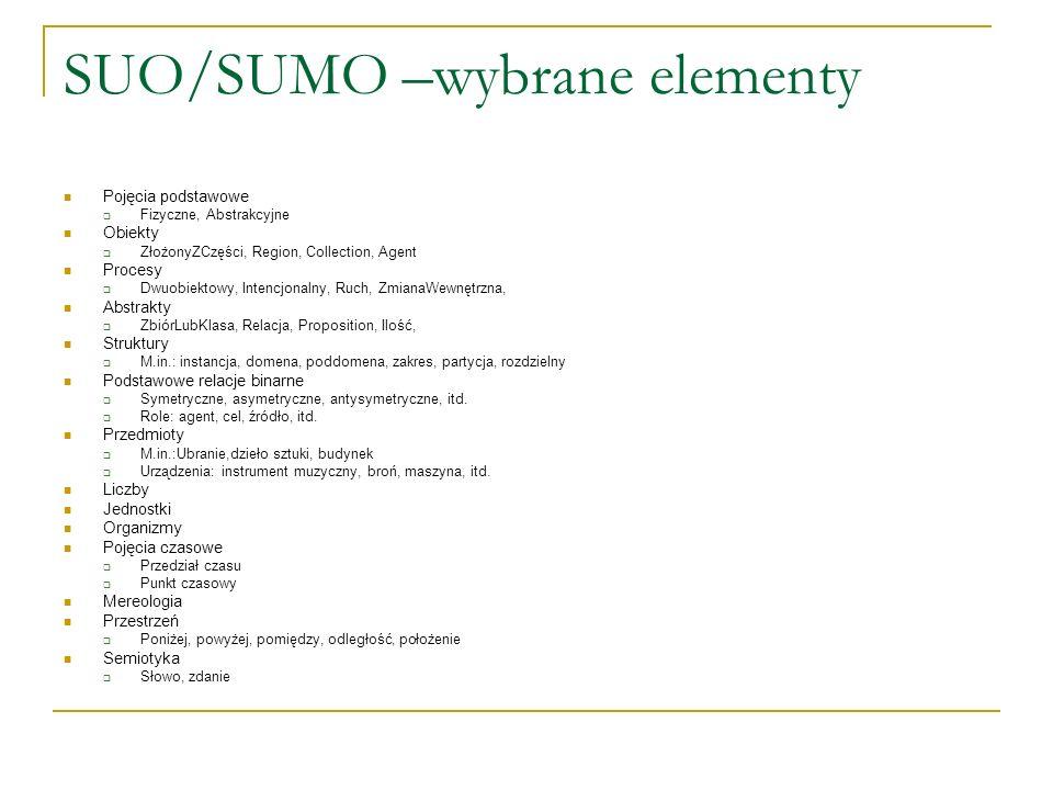 SUO/SUMO –wybrane elementy Pojęcia podstawowe Fizyczne, Abstrakcyjne Obiekty ZłożonyZCzęści, Region, Collection, Agent Procesy Dwuobiektowy, Intencjon