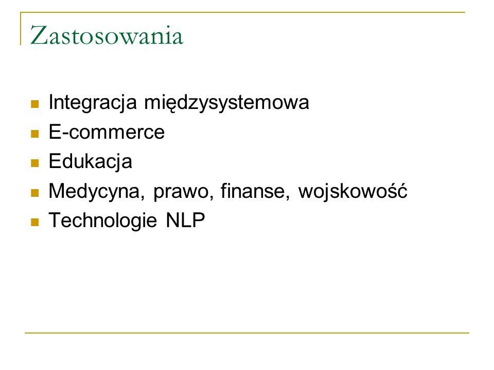 Zastosowania Integracja międzysystemowa E-commerce Edukacja Medycyna, prawo, finanse, wojskowość Technologie NLP