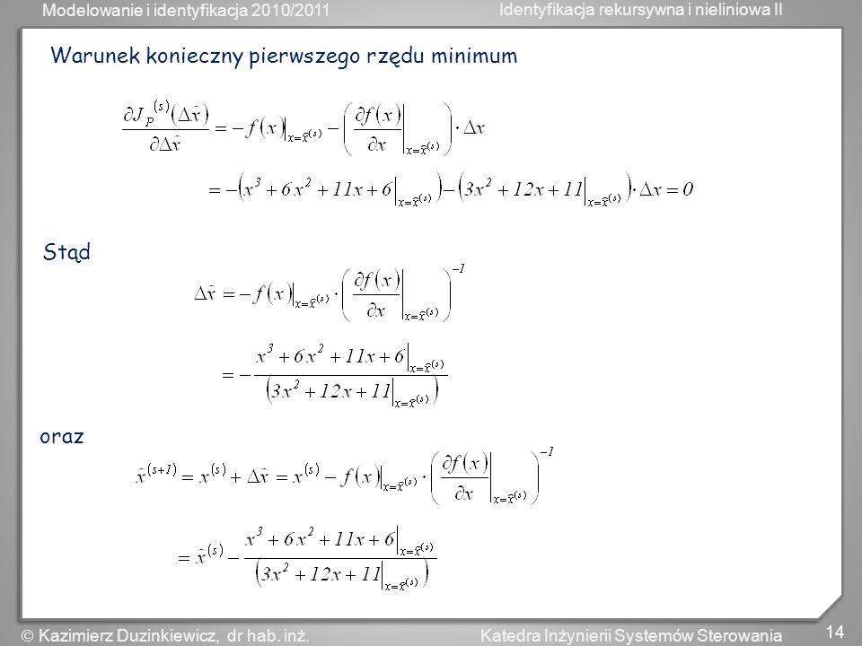 Modelowanie i identyfikacja 2010/2011 Identyfikacja rekursywna i nieliniowa II 14 Katedra Inżynierii Systemów Sterowania Kazimierz Duzinkiewicz, dr ha