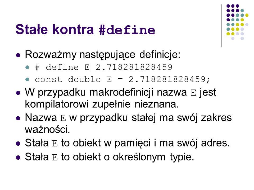 Stałe kontra #define Rozważmy następujące definicje: # define E 2.718281828459 const double E = 2.718281828459; W przypadku makrodefinicji nazwa E jes