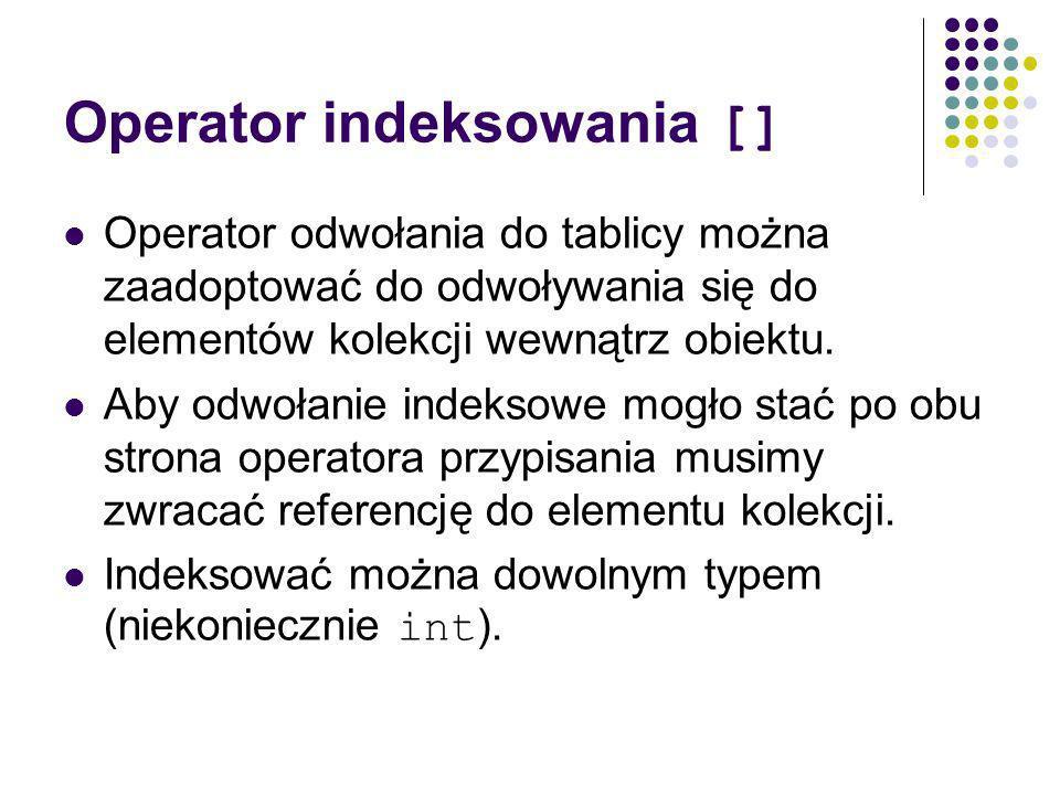 Operator indeksowania [] Operator odwołania do tablicy można zaadoptować do odwoływania się do elementów kolekcji wewnątrz obiektu.