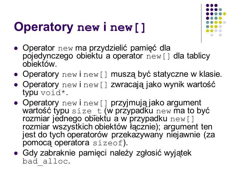 Operatory new i new[] Operator new ma przydzielić pamięć dla pojedynczego obiektu a operator new[] dla tablicy obiektów.