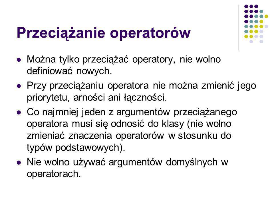 Przeciążanie operatorów Można tylko przeciążać operatory, nie wolno definiować nowych.