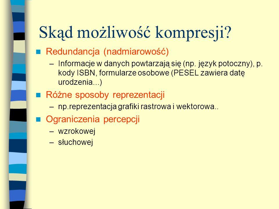 Skąd możliwość kompresji? Redundancja (nadmiarowość) –Informacje w danych powtarzają się (np. język potoczny), p. kody ISBN, formularze osobowe (PESEL