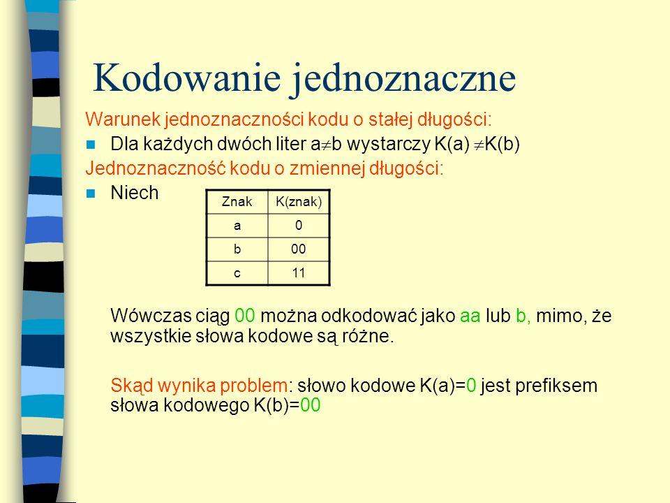 Kodowanie jednoznaczne Warunek jednoznaczności kodu o stałej długości: Dla każdych dwóch liter a b wystarczy K(a) K(b) Jednoznaczność kodu o zmiennej