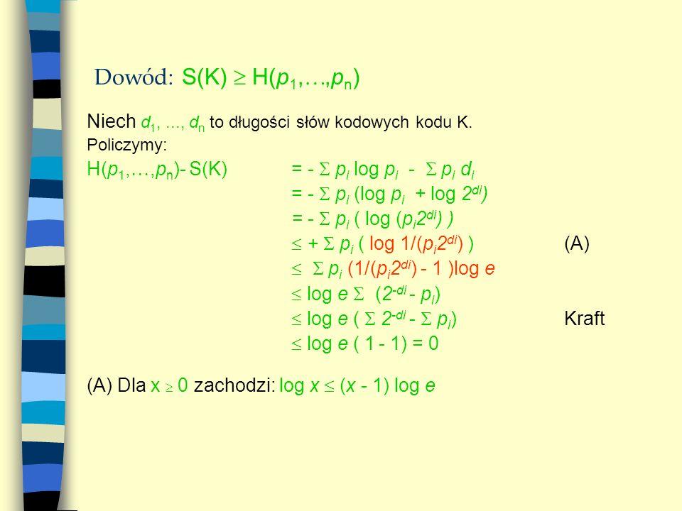 Dowód : S(K) H(p 1,,p n ) Niech d 1,..., d n to długości słów kodowych kodu K. Policzymy: H(p 1,,p n )- S(K) = - p i log p i - p i d i = - p i (log p