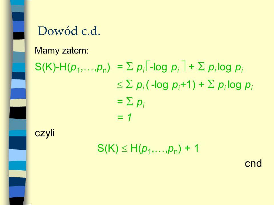 Dowód c.d. Mamy zatem: S(K)-H(p 1,,p n )= p i -log p i + p i log p i p i ( -log p i +1) + p i log p i = p i = 1 czyli S(K) H(p 1,,p n ) + 1 cnd