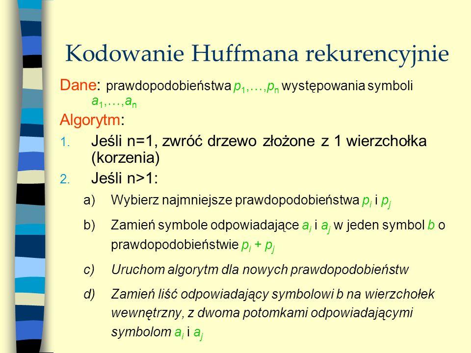 Kodowanie Huffmana rekurencyjnie Dane: prawdopodobieństwa p 1,,p n występowania symboli a 1,,a n Algorytm: 1. Jeśli n=1, zwróć drzewo złożone z 1 wier