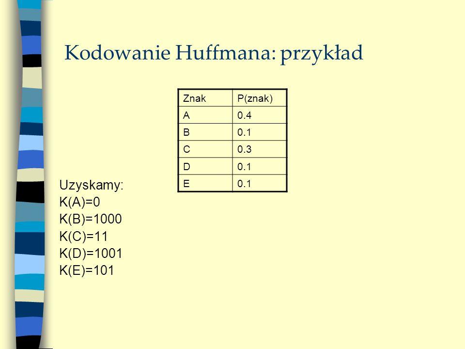 Kodowanie Huffmana: przykład Uzyskamy: K(A)=0 K(B)=1000 K(C)=11 K(D)=1001 K(E)=101 ZnakP(znak) A0.4 B0.1 C0.3 D0.1 E