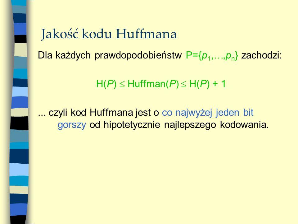 Jakość kodu Huffmana Dla każdych prawdopodobieństw P={p 1,,p n } zachodzi: H(P) Huffman(P) H(P) + 1... czyli kod Huffmana jest o co najwyżej jeden bit