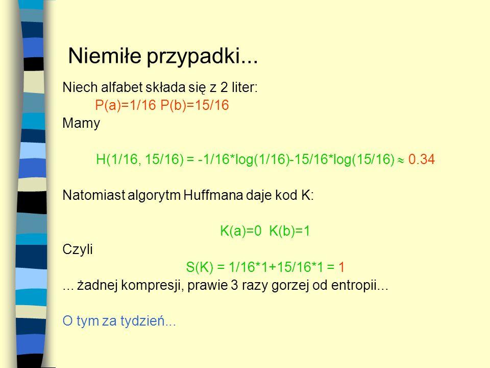 Niemiłe przypadki... Niech alfabet składa się z 2 liter: P(a)=1/16P(b)=15/16 Mamy H(1/16, 15/16) = -1/16*log(1/16)-15/16*log(15/16) 0.34 Natomiast alg