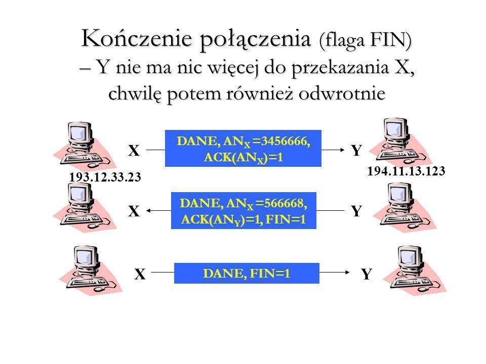 Kończenie połączenia (flaga FIN) – Y nie ma nic więcej do przekazania X, chwilę potem również odwrotnie DANE, AN X =3456666, ACK(AN X )=1 DANE, AN X =