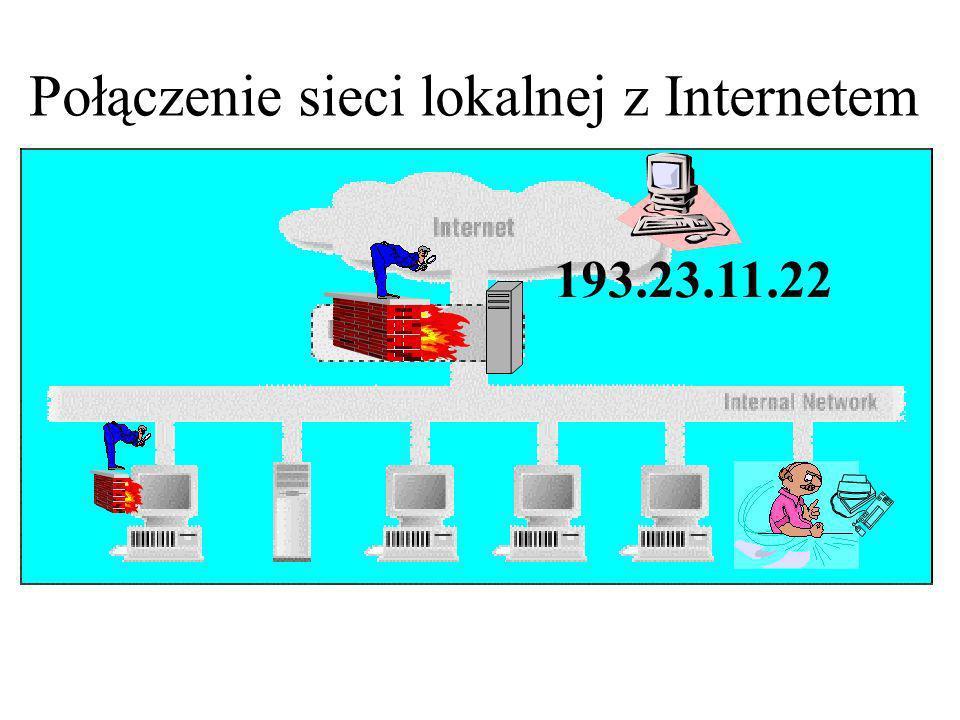 Klienty w sieci chronionej; zewnętrzny serwer telnetu 193.23.11.22 Kierunek Adres nadawcy Port nadawcy Adres docelowy Port docelowy Akcja wychodzący dowolny wewnętrzny >= 1024193.23.11.2223OK przychodzący193.23.11.2223 dowolny wewnętrzny >=1024OK