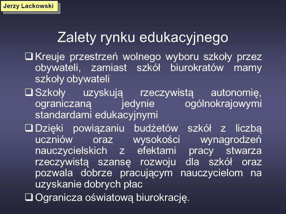Przeszkody we wprowadzeniu rozwiązań rynkowych do edukacji Dominujące modele scentralizowanego, etatystycznego państwa Dominacja biurokratycznych i sy