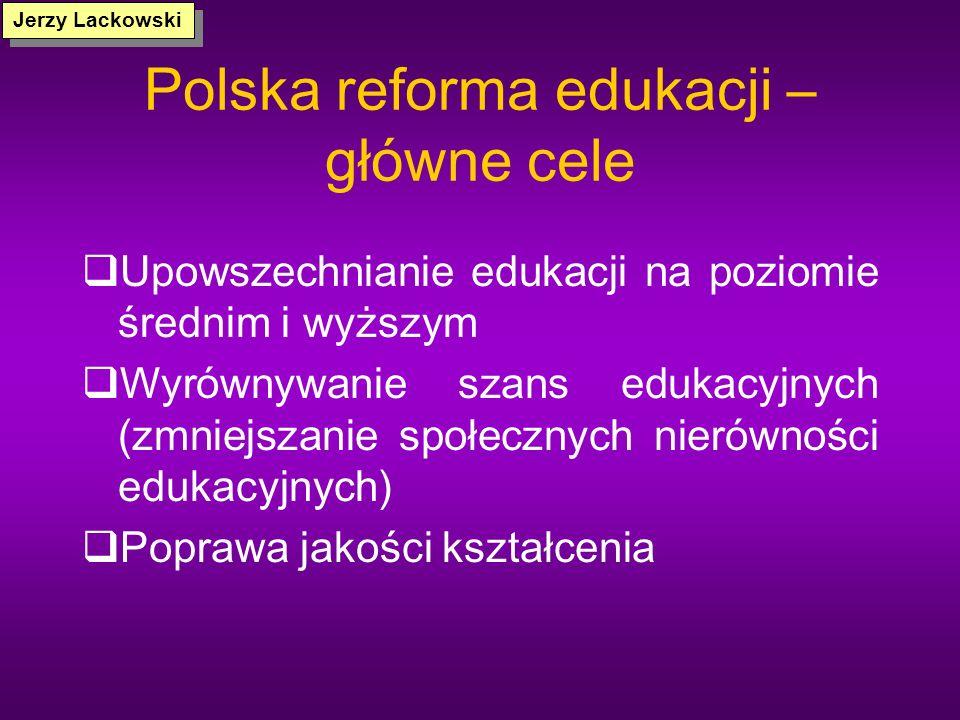 Polska reforma edukacji (obszary zmian) 1.Decentralizacja zarządzania 2.Pluralizm organizacyjny 3.Zewnętrzne egzaminy 4.Reforma programowa 5.Zmiana st