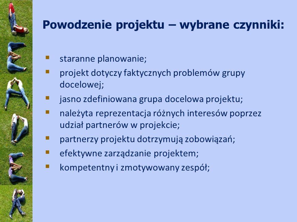 Powodzenie projektu – wybrane czynniki: staranne planowanie; projekt dotyczy faktycznych problemów grupy docelowej; jasno zdefiniowana grupa docelowa