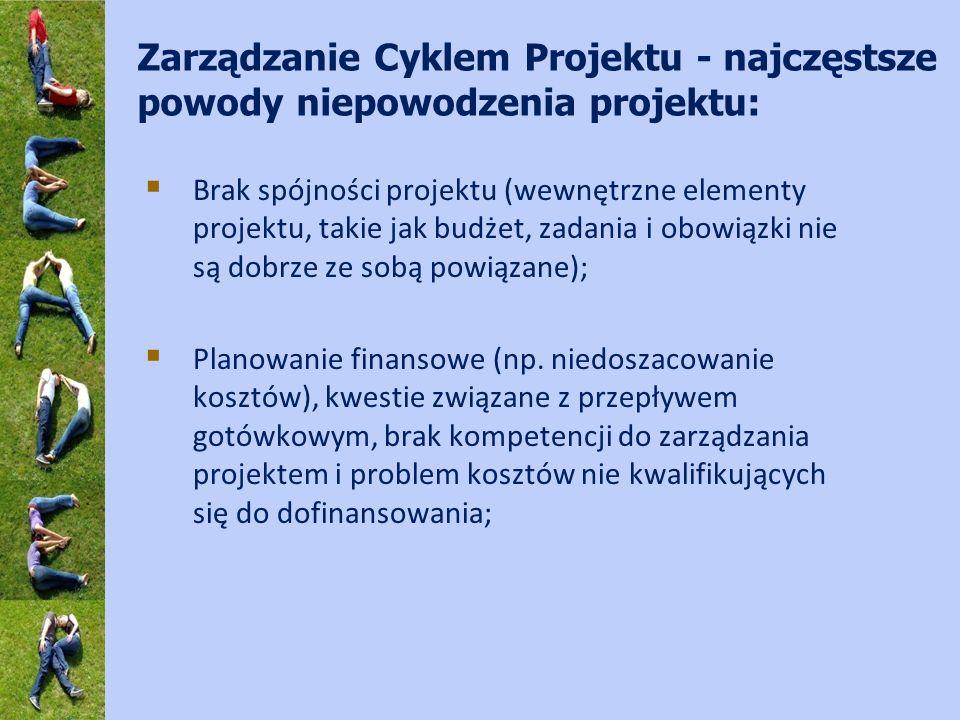 Zarządzanie Cyklem Projektu - najczęstsze powody niepowodzenia projektu: Brak spójności projektu (wewnętrzne elementy projektu, takie jak budżet, zada