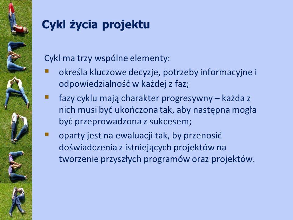 Cykl ma trzy wspólne elementy: określa kluczowe decyzje, potrzeby informacyjne i odpowiedzialność w każdej z faz; fazy cyklu mają charakter progresywny – każda z nich musi być ukończona tak, aby następna mogła być przeprowadzona z sukcesem; oparty jest na ewaluacji tak, by przenosić doświadczenia z istniejących projektów na tworzenie przyszłych programów oraz projektów.