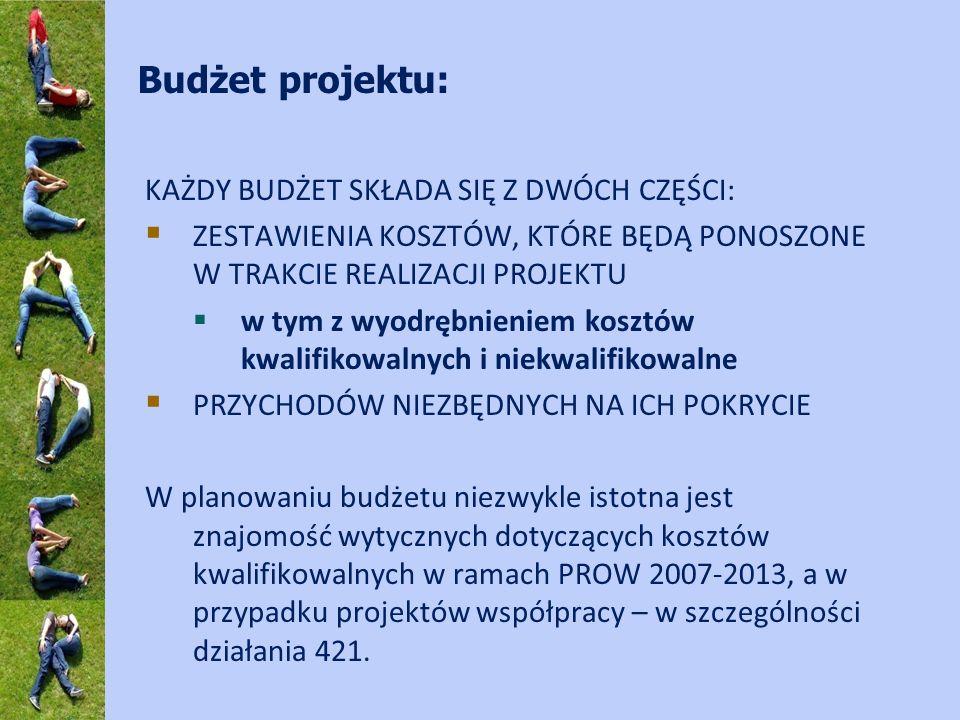 Budżet projektu: KAŻDY BUDŻET SKŁADA SIĘ Z DWÓCH CZĘŚCI: ZESTAWIENIA KOSZTÓW, KTÓRE BĘDĄ PONOSZONE W TRAKCIE REALIZACJI PROJEKTU w tym z wyodrębnienie