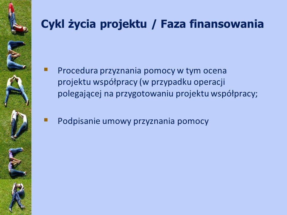 Cykl życia projektu / Faza finansowania Procedura przyznania pomocy w tym ocena projektu współpracy (w przypadku operacji polegającej na przygotowaniu projektu współpracy; Podpisanie umowy przyznania pomocy