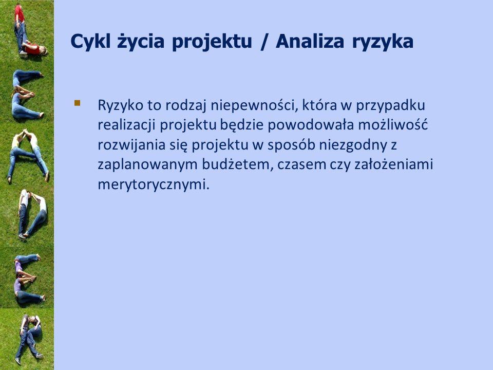 Cykl życia projektu / Analiza ryzyka Ryzyko to rodzaj niepewności, która w przypadku realizacji projektu będzie powodowała możliwość rozwijania się projektu w sposób niezgodny z zaplanowanym budżetem, czasem czy założeniami merytorycznymi.
