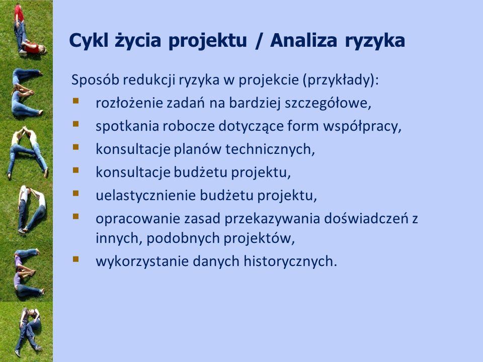 Cykl życia projektu / Analiza ryzyka Sposób redukcji ryzyka w projekcie (przykłady): rozłożenie zadań na bardziej szczegółowe, spotkania robocze dotyczące form współpracy, konsultacje planów technicznych, konsultacje budżetu projektu, uelastycznienie budżetu projektu, opracowanie zasad przekazywania doświadczeń z innych, podobnych projektów, wykorzystanie danych historycznych.