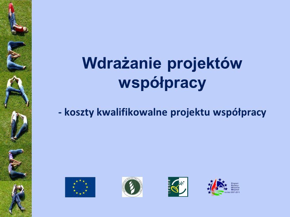 Wdrażanie projektów współpracy - koszty kwalifikowalne projektu współpracy