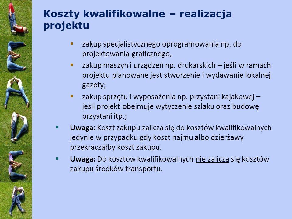Koszty kwalifikowalne – realizacja projektu zakup specjalistycznego oprogramowania np.
