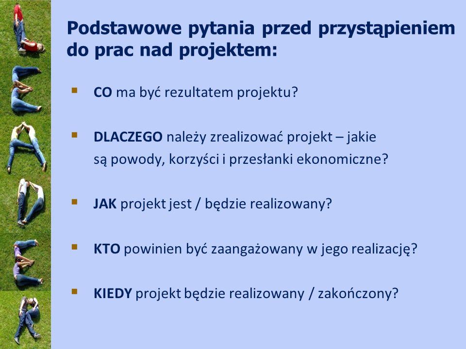 Podstawowe pytania przed przystąpieniem do prac nad projektem: CO ma być rezultatem projektu? DLACZEGO należy zrealizować projekt – jakie są powody, k