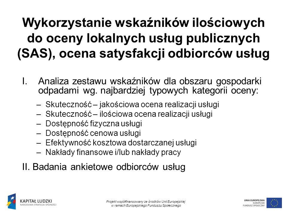 11 Wykorzystanie wskaźników ilościowych do oceny lokalnych usług publicznych (SAS), ocena satysfakcji odbiorców usług I.Analiza zestawu wskaźników dla